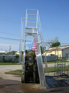 Aluminum Cross Over Short Sided We Also Build to Customer Prints or Concepts! Custom Platform Ladders!