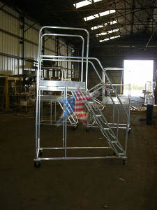 Aluminum Rolling Extended Platform We Also Build to Customer Prints or Concepts! Custom Platform Ladders!