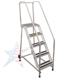 aluminum rolling ladder 275x300 Rolling Ladder, We Build Platforms Too! Prices on Line, 888.661.0845