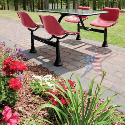 Cluster Seating with Laminate Top works great both indoors and outdoors