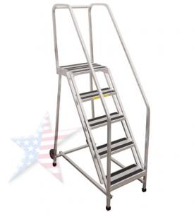 aluminum rolling ladder full handrails
