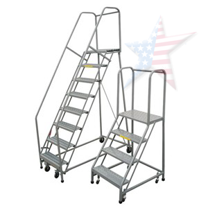 rolling safety ladder e1360 Rolling Ladder, We Build Platforms Too! Prices on Line, 888.661.0845