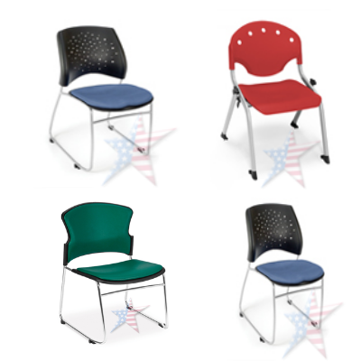 Stackable chairs with chrome legs